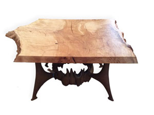 Beech Coffee Table with a One-of-a-Kind Base