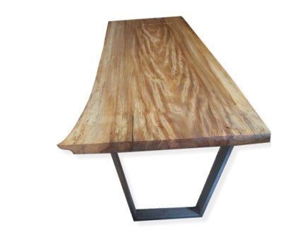 American Elm Dining Room Table with Narrowing Steel Legs