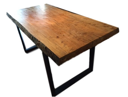 Silver Maple Dining Room Table with Industrial Style Base