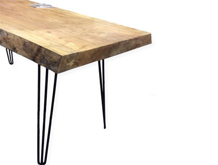 Silver Maple Dining Room Table with Hairpin Legs