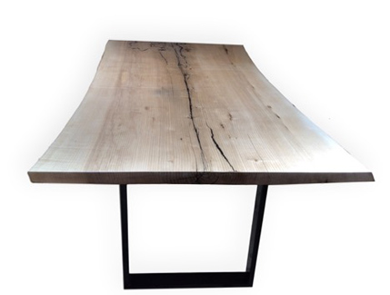 Ash Dining Room Table with Glossy Black Base